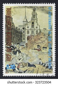 EQUATORIAL GUINEA - CIRCA 1976: A stamp printed in GUINEA issued for the bicentenary of American Revolution shows picture of Boston Massacre 1770 by Paul Revere , circa 1976