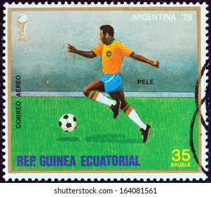 "EQUATORIAL GUINEA - CIRCA 1977: A stamp printed in Equatorial Guinea from the "" Football World Cup, Argentina 1978"" issue shows Pele, circa 1977."