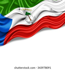 Equatorial Guinea   flag of silk with copyspace for your text or images and  White background