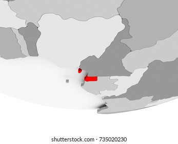 Equatorial Guinea in red on grey political globe. 3D illustration.