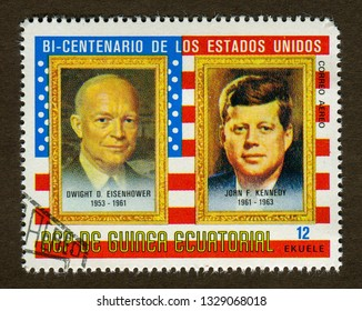 Equatorial Guinea Stamp - CIRCA 1975: A stamp printed in Equatorial Guinea shows  America president Dwight D. Eisenhower(1953-1961) and John F. Kennedy(1961-1963) Portrait illustration.