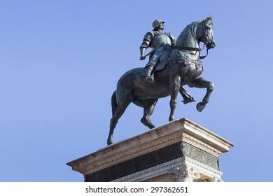 Equestrian bronze statue of Bartolomeo Colleoni in Venice, Italy
