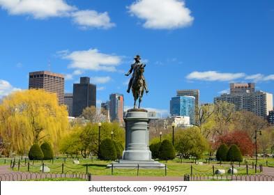 Equestrian George Washington Monument at Public Garden in Boston, Massachusetts.