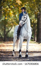 Equestrian lady riding white horseback in autumn alley. Vibrant colored outdoors vertical summertime image with filter