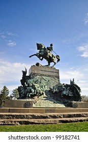 The equestrian monument dedicated to Amedeo Of Savoy in the Valentino's Park, in Turin. Italy.
