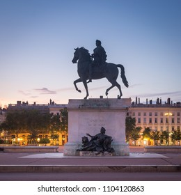 The equestrian monument of King Louis XIV in Bellecour square - Lyon. Created in 1720 by François-Frédéric Lemot