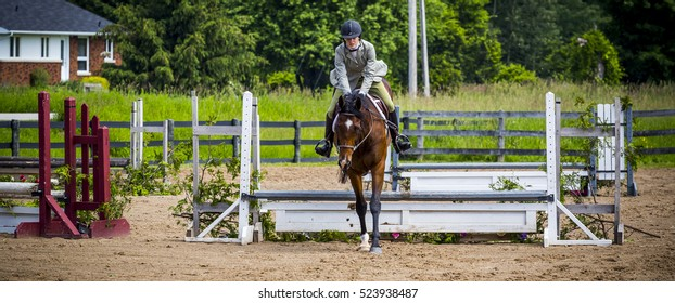 equestrian riding in hunter and jumper ring