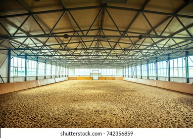 equestrian sport arena horse racecourse Empty riding arena is suitable for dressage horses