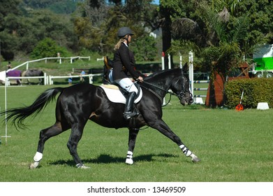 Equestrian sport: a female caucasian horse rider riding her beautiful black horse at the riding school outdoors