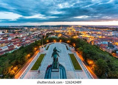 Equestrian statue above Prague city