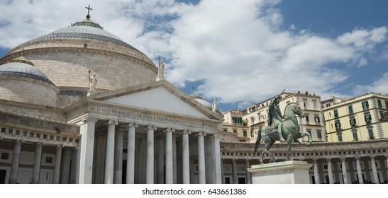 Equestrian statue of Charles III Borbone  in Plebiscito's Square in Naples - Italy