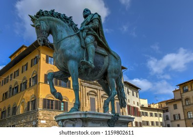 Equestrian statue of Cosimo I de' Medici on the Piazza della Signoria, by Giambologna. Florence, Italy.