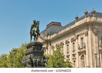 Equestrian statue of Frederick the Great at the east end of Unter den Linden street. Designed in 1839 by Rauch and unveiled in 1851.