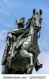 Equestrian statue of Frederick the Great on Unter den Linden street in Berlin, Germany