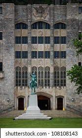 An equestrian statue of George Washington stands in front of Washington Hall, the main mess hall for the Corps of Cadets at the U.S. Military Academy in West Point, NY