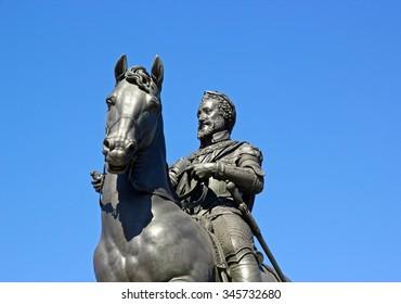 Equestrian statue of Henri IV, royal square in Paris (France)