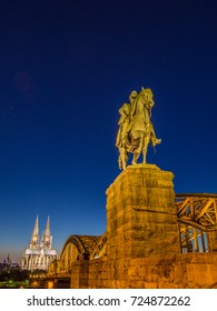 Equestrian statue of Kaiser Wilhelm I with Cologne Cathedral, Germany.