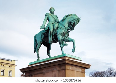 Equestrian statue of King Carl XIV Johan in Oslo, Norway. The statue was erected in 1875.