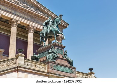 Equestrian statue of King Frederick William in front of the Old National Gallery in Berlin, Germany.