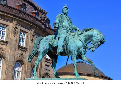 The equestrian statue of King Frederik VII in front of the Christiansborg Slot Palace in Christiansborg Slotspads square, Copenhagen, Denmark
