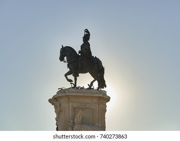 Equestrian statue of King Jose I of Portugal at the Plaza del Comercio in Lisbon