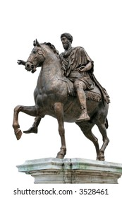 The Equestrian Statue of Marcus Aurelius (ancient roman statue dated 175 AC). The statue is the subject of the 0.50 Italian euro coin. Isolated on white background