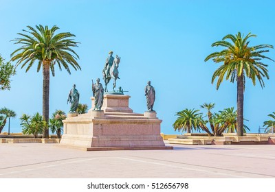 The equestrian statue of Napoleon, surrounded by his four brothers in Roman garb, located in Place de Gaulle, Ajaccio, Corsica, France.