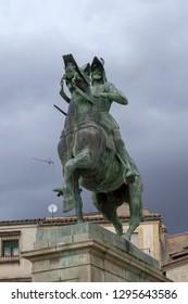 Equestrian statue of Pizarro conqueror of Peru in Trujillo (Spain)