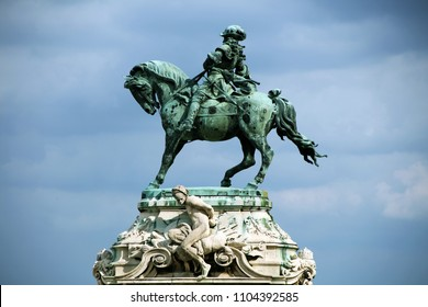 Equestrian statue of Prince Eugene of Savoy, in front of the historic Royal Palace in Buda Castle, Budapest, Hungary, Europe