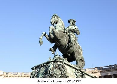 Equestrian statue of Prince Eugene of Savoy (Prinz Eugen von Savoyen) in front of Hofburg palace