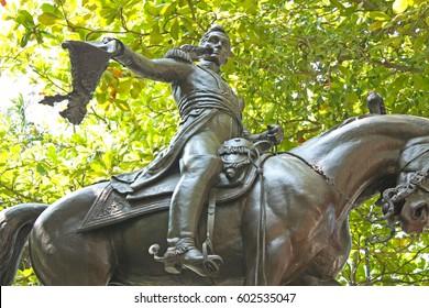 Equestrian statue of Simon Bolivar. Bolivar square. Cartagena de Indias. Colombia. In 1984, Cartagena's colonial walled city and fortress were designated a UNESCO World Heritage Site.