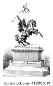 Equestrian statue of William the Conqueror, by Rochet, inaugurated at Falaise, October 26, 1851, vintage engraved illustration. Magasin Pittoresque 1858.
