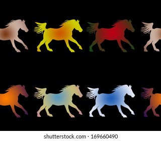 Equestrian themed background image of colorful galloping horses on black, a seamless pattern