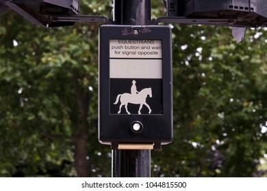 Equestrian traffic light button in London, United Kingdom