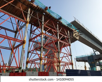 Equine Park, Selangor - May 4 2019: Erection of Segmental Box Girder at the Equine Park MRT Station site. The SSP Line is the second line of the KVMRT Project operated by Prasarana.