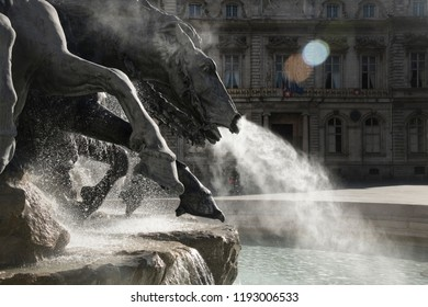 Equine themed black stone fountain in Lyon France