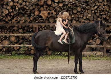 Equine therapy, recreation concept. Children sit in rider saddle on animal back. Friend, companion, friendship. Sport, activity, entertainment. Girls ride on horse on summer day. riding school
