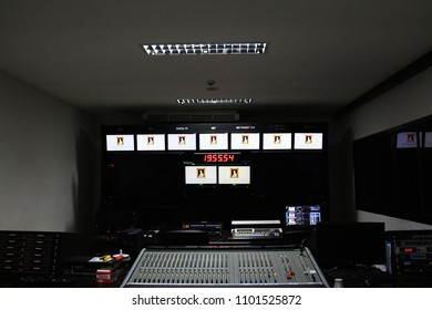 Equipment in control room for television production.