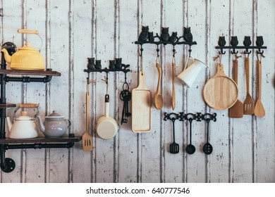 equipment for cooking on old wooden background