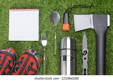 equipment for extreme rest, green lawn concept