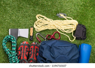 equipment for extreme sports lies on the grass