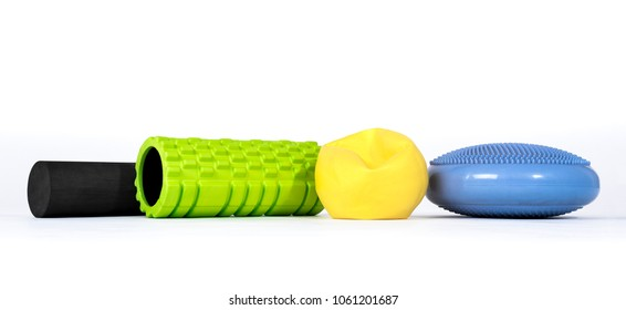 Equipment for fitness training, yoga, self massage, relaxing muscles and correct sitting (foam roller, overball and medical seat pad)