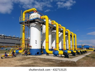 The equipment at gas-compressor station
