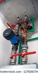 Equipment for heating system. Pipelines, water pump, manometers.