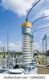 Equipment of high-voltage substation.Part of high-voltage substation with contacts of high-voltage transformer.