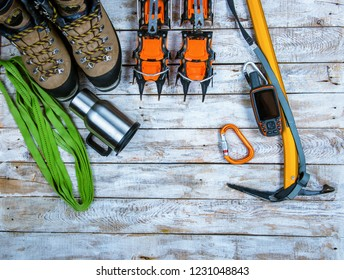 equipment for hiking in the mountains,  mountaineering equipment
