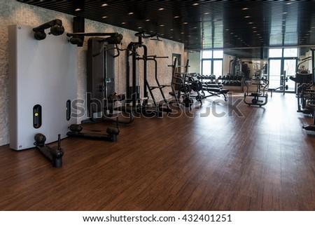 Equipment machines modern gym room fitness stock photo edit now
