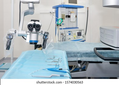 Equipment and medical devices in modern operating room. Surgical room modern equipment in the hospital.
