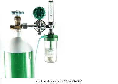 Equipment medical Oxygen tank and Cylinder Regulator gauge.Control pressure oxygen gas for care a patient respiratory disease and emergency CPR at Hospital, Close up focus on white background.