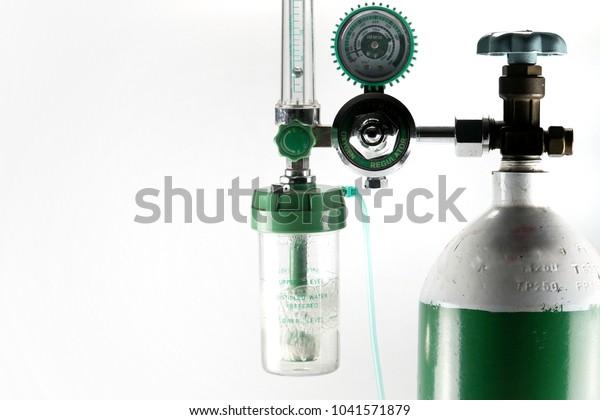 Equipment Medical Oxygen Tank Cylinder Regulator Stock Photo (Edit